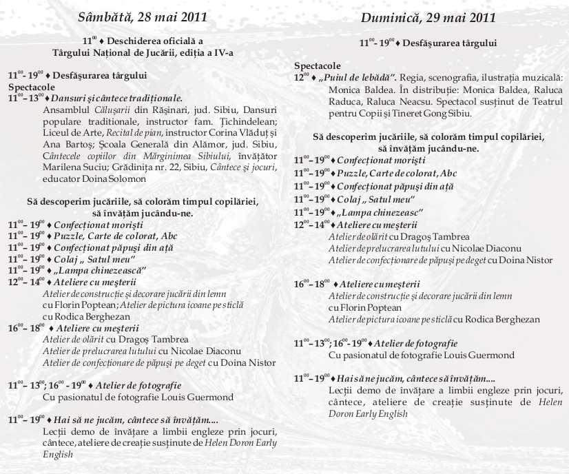 Programul targului national de Jucarii Sibiu 2011