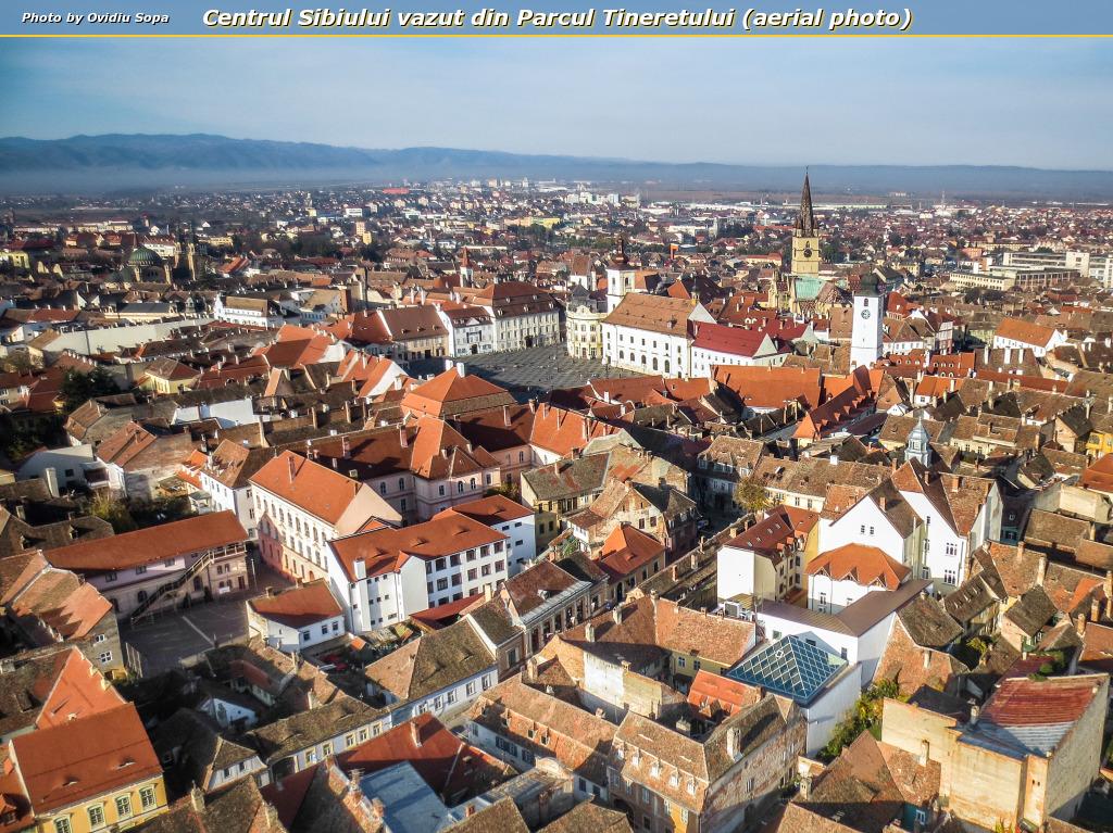 Centrul Sibiului vazut din Parcul Tineretului (aerial photo)