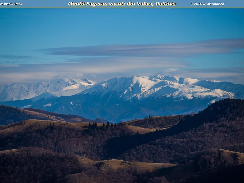 Muntii Fagaras vazuti din Valari, Paltinis