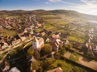 Poza Zilei Sibiu - Biserica fortificata din Gusterita (aerial photo)