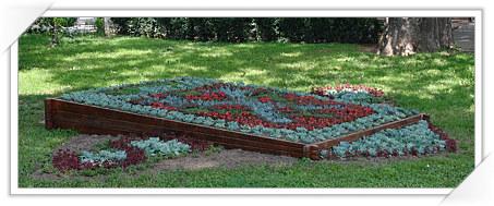 Sibiu: Parcul Astra, Stema Sibiului realizata din flori